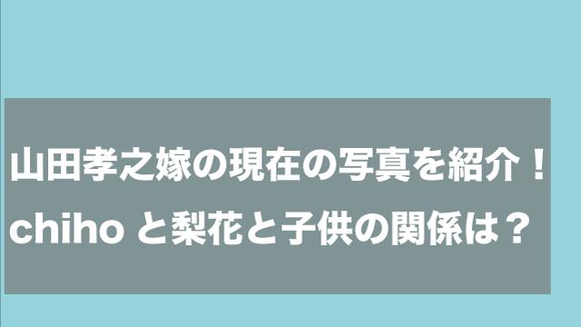 山田孝之嫁の現在の写真を紹介!chihoと梨花と子供の関係は?