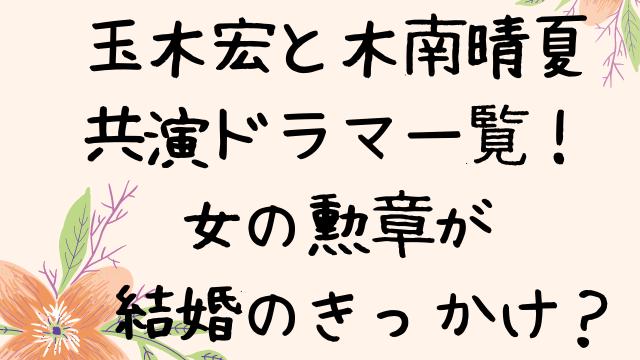 玉木宏と木南晴夏の共演ドラマ一覧!女の勲章が結婚のきっかけ?